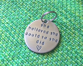 Hand Stamped Dog Tag - Live Joy - Custom Pet Tag - she believed she could so she did - ID Tag - Dog Tag - Cat tag - Cancer - survivor - pet