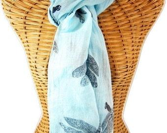 Aqua Organic Cotton Dragonfly Scarf
