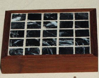 Black Marble Mosaic Coasters- Set of 2.