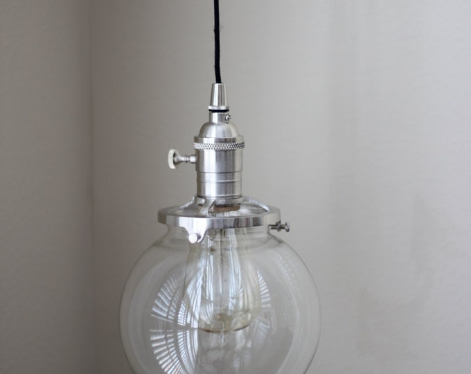 "Free Shipping! Pendant Lighting Brushed Satin Nickel - 6"" Clear Glass Globe - Cloth Wire - Plug In or Ceiling Canopy Mount"