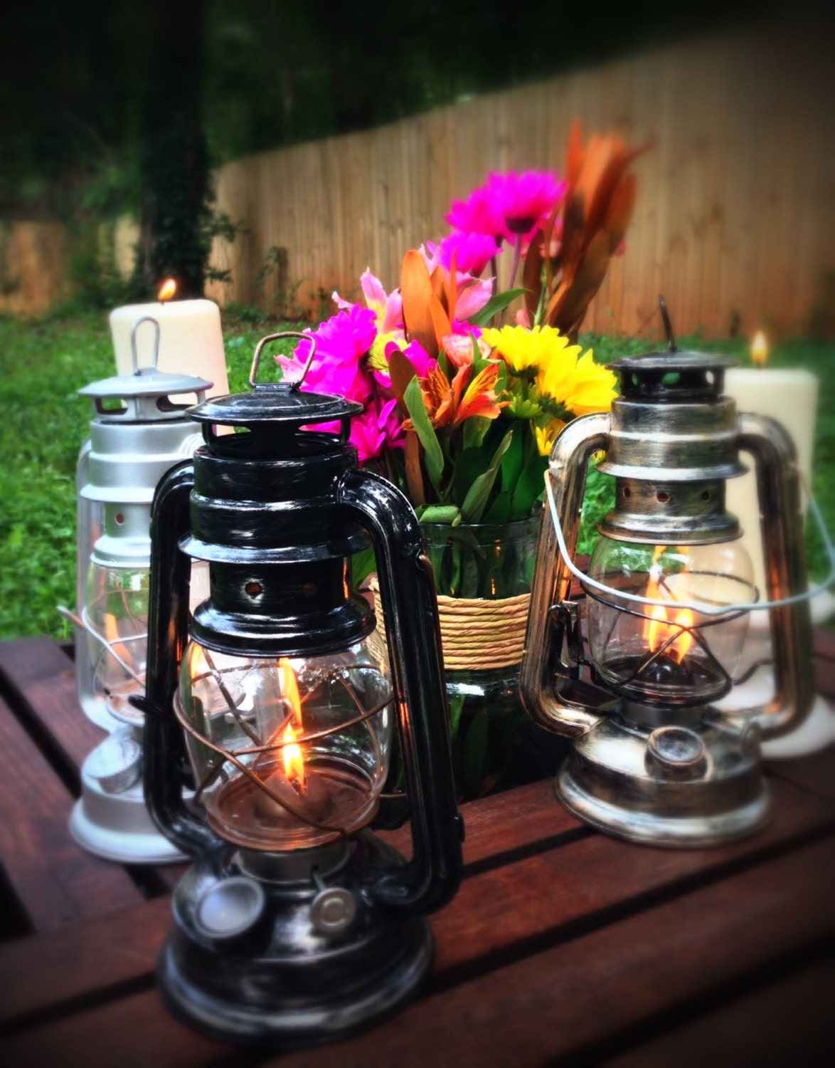 Railroad lantern rustic wedding centerpiece by recycledrevival