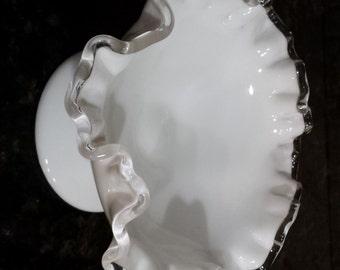 Fenton White Aqua Milk Glass Silvercrest Candy Dish Bowl 1950's