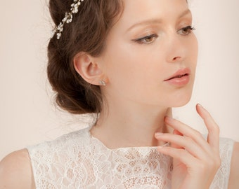 Bridal hair vine , headpiece, -- beads flowers hair vine with freshwater pearls  --  Style 330