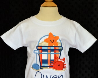 Personalized Sand Beach Pail Bucket Starfish Crab Shovel Applique Shirt or Onesie Girl