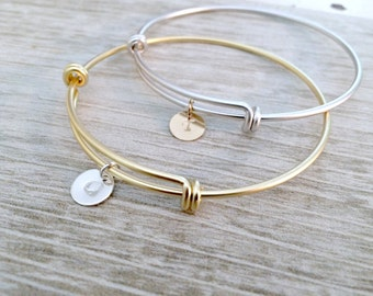 Bangle Set Gold & Silver letter Bangles Personalized Bangles monogram bangles hand stamped initials circle discs monogram jewelry initials
