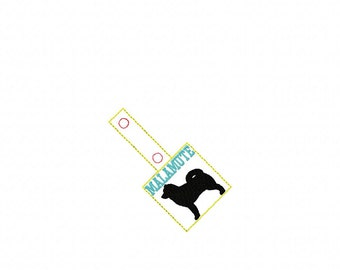 ALASKAN MALAMUTE In The Hoop - Snap/Rivet Key Fob - DIGITAL Embroidery Design