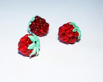 Red Raspberry beads (3p),  Raspberry Glass Beads, Glass bead set, lampwork berries Red berrys raspberry, Home Decor, lampwork glass bead SRA