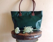 Big Shoulder Bag, Leather Green Bag, Diaper Leather Bag, Handbag, Big Leather Bag For Women, Dark Green and Brown Leather Bag, Tote