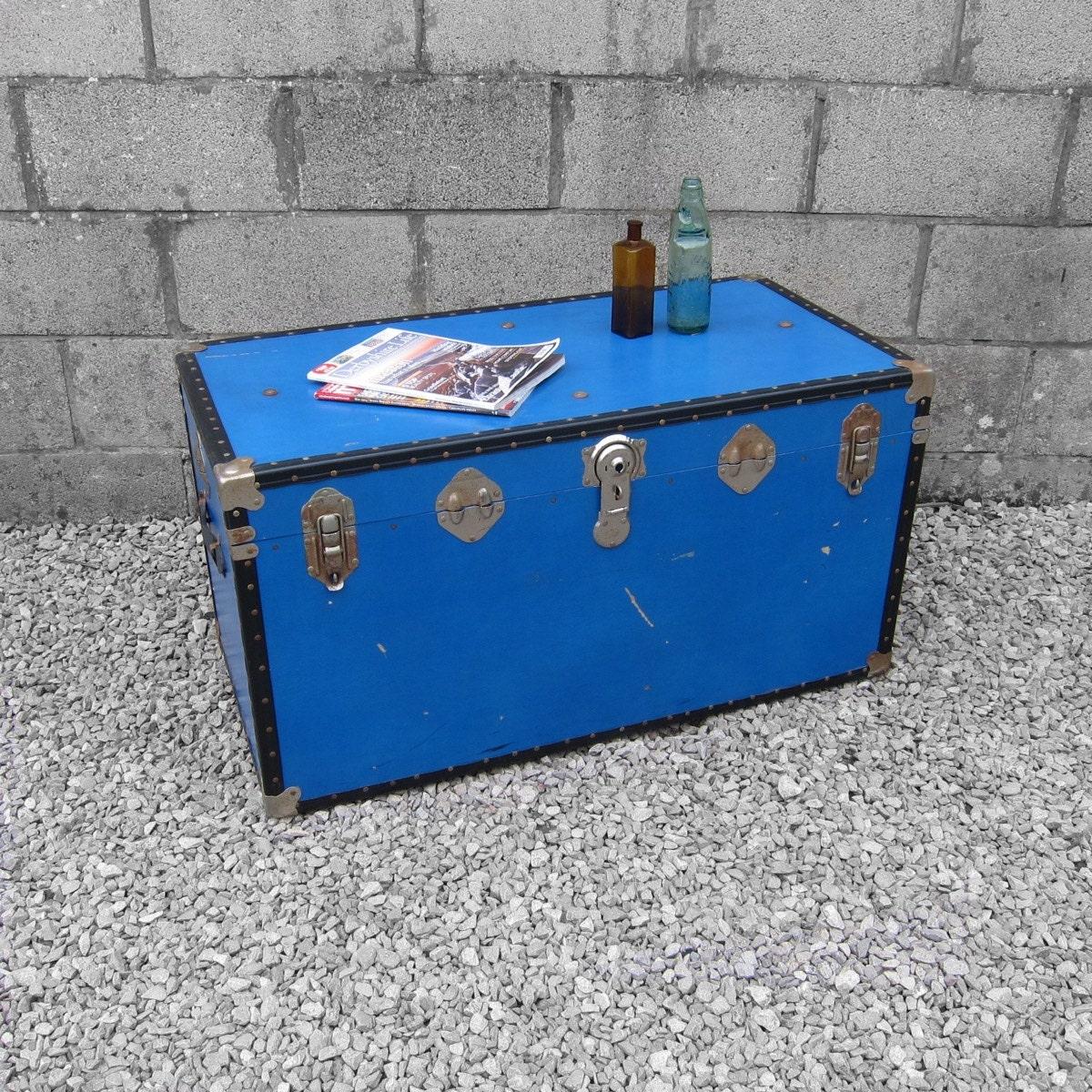 Vintage 1950s Vibrant Blue Storage Chest Travel Trunk Coffee Table Box Haute Juice