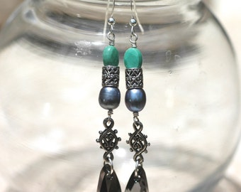 Long Dangle Gemstone Earrings with Green Opal, Gray Pearls and Wing Pendant Swarovski Crystals