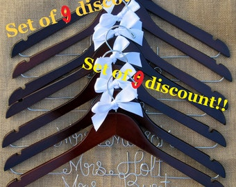 SALE 10% Set of 9 Personalized Wedding Hangers, Bridal Hanger Set. Perfect for Bridal Party. Ribbon Color of your choice!