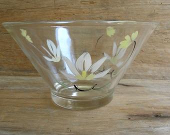 Vintage Hand Painted Floral Glass Serving Bowl / Salad Bowl / Punch Bowl / Hazel Atlas Salad Bowl