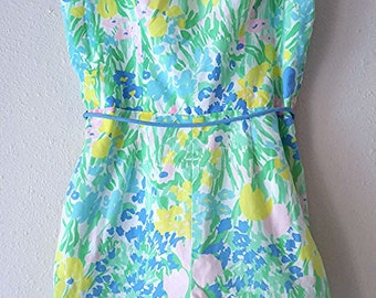 Free Ship / Floral  60s Vintage Sea Waves Swimsuit Pin Up Romper Playsuit  Bombshell