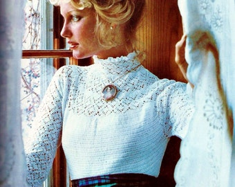 Victorian Lace Blouse Vintage Crochet Pattern Download