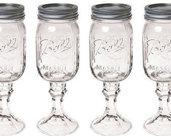 Set of 4 Mason Jar Wine Glasses, DIY Wine glasses