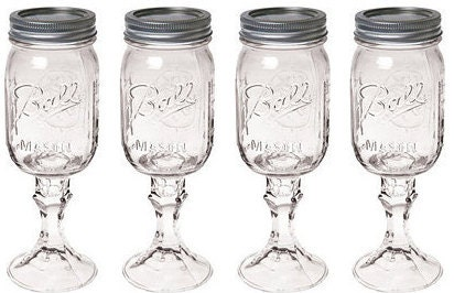 Set Of 4 Mason Jar Wine Glasses DIY Wine Glasses