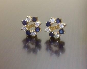 14K Yellow Gold Blue Sapphire Diamond Earring Jacket - 14K Gold Sapphire Diamond Earrings - Diamond Sapphire Earrings - Gold Earring Jacket