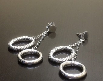 14K White Gold Earrings - 14K Gold Dangling Earrings - 14K Gold Drop Earrings - 14K Earrings - White Gold Earrings - 14K Gold Stud Earrings