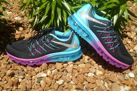 NEW just in Women's Nike Air Max 2015 Running Shoes Black White Clearwater Fuchsia Flash Swarovski Nike Bling shoes Running gorgeous