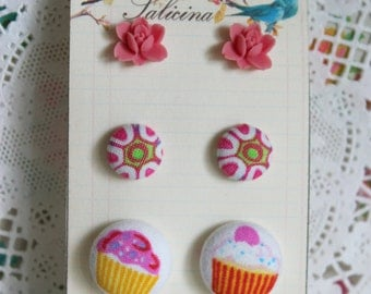 Resin Flowers Earrings, Fabric Buttons Earrings, Stud Earrings, Handmade Fabric Button Earrings, Resin Flowers, Gift Set, Post Earrings Set