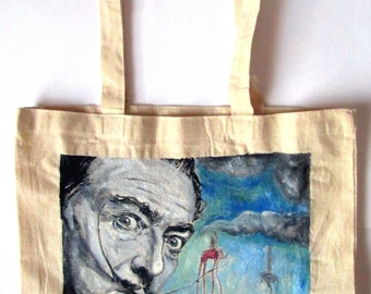 Handpainted tote bag Salvador Dali Fanart custom eco friendly bag