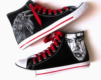 Custom handpainted shoes,The Crow Fanart shoes, custom snekers