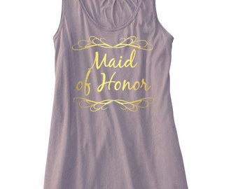Maid of Honor slowy tank. fitness tank. wedding .Bride. Bride's Crew. Bachelorette Party shirts. Bridesmaid Tanks.
