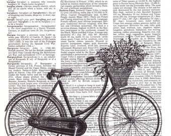 Vintage Wall Art Print - Dictionary Art - Vintage Dictionary Paper - Vintage Bike