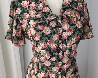 80's VINTAGE FLORAL Cape Sleeve  Blouse (Debenhams)