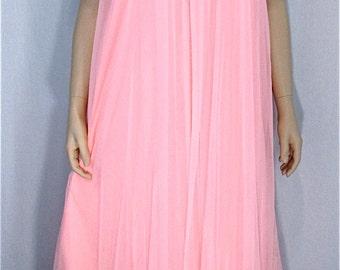 Tosca Chiffon Peignoir Set MED Vintage Nightgown Robe Peach Pink Bridal Lingerie 1960's Honeymoon Lingerie Valentine Lingerie Gift For Her