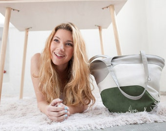 Gift for her, bag summer tote bag green leather purse vegan geometric shoulder bag beach handbag