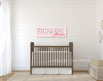 Princess wall art - princess wall decor - girls princess room - princess nursery art - pink and gray nursery - chevron nursery decor