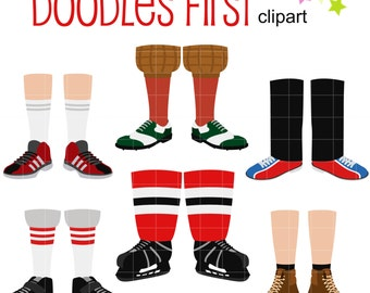 Men's Feet Sports and Activities Clip Art for Scrapbooking Card Making Cupcake Toppers Paper Crafts SVG Cuts
