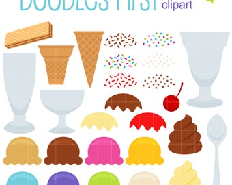 Make Your Own Ice Cream DIgital Clip Art for Scrapbooking Card Making Cupcake Toppers Paper Crafts