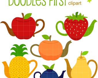 Cute Fruity Teapots Clip Art for Scrapbooking Card Making Cupcake Toppers Paper Crafts