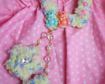 Yellow Pastel Two Way Fuzzy Clip-Fairy Kei Hair Accessory-Two Way Fuzzy Clip-Sweet Lolita-Lolita Accessory-Fairy Kei-Pastel Hair Accessory