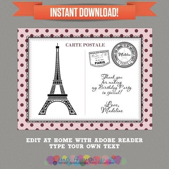 Paris Party Parisian Party Printable Thank You Cards Editable