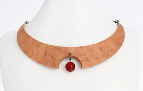 Natural leather necklace - leather  minimalist necklace - futuristic necklace - urban necklace