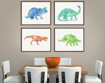 Dinosaur Art Print, Set of 4 Prints, Dinosaur Poster, Dinosaur Wall Decor, Dinosaur Wall Art, Watercolor Dinosaur, Childrens Room Decor