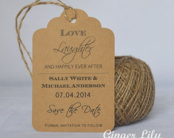 Rustic Kraft Luggage Tag Wedding Save the Date Card - Ever After Design - Jute Twine