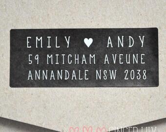 Personalised Return Address Labels Heart Design - Pack of 30 - Black & White - Weddings