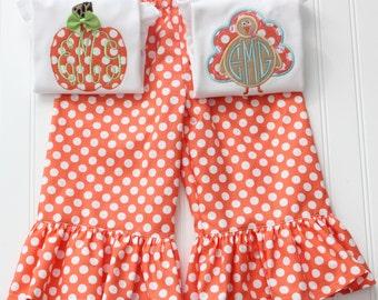 Pumpkin & Turkey Onesie/ Shirt Ruffled Pant Set Monogammed for Fall