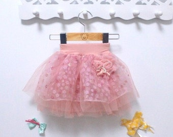 Dusky Pink Flower Pettiskirt Tutu Skirt