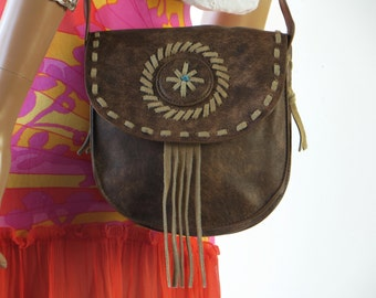 TAKE 40% OFF 70's Fringe Leather Hippie Bag Purse brown