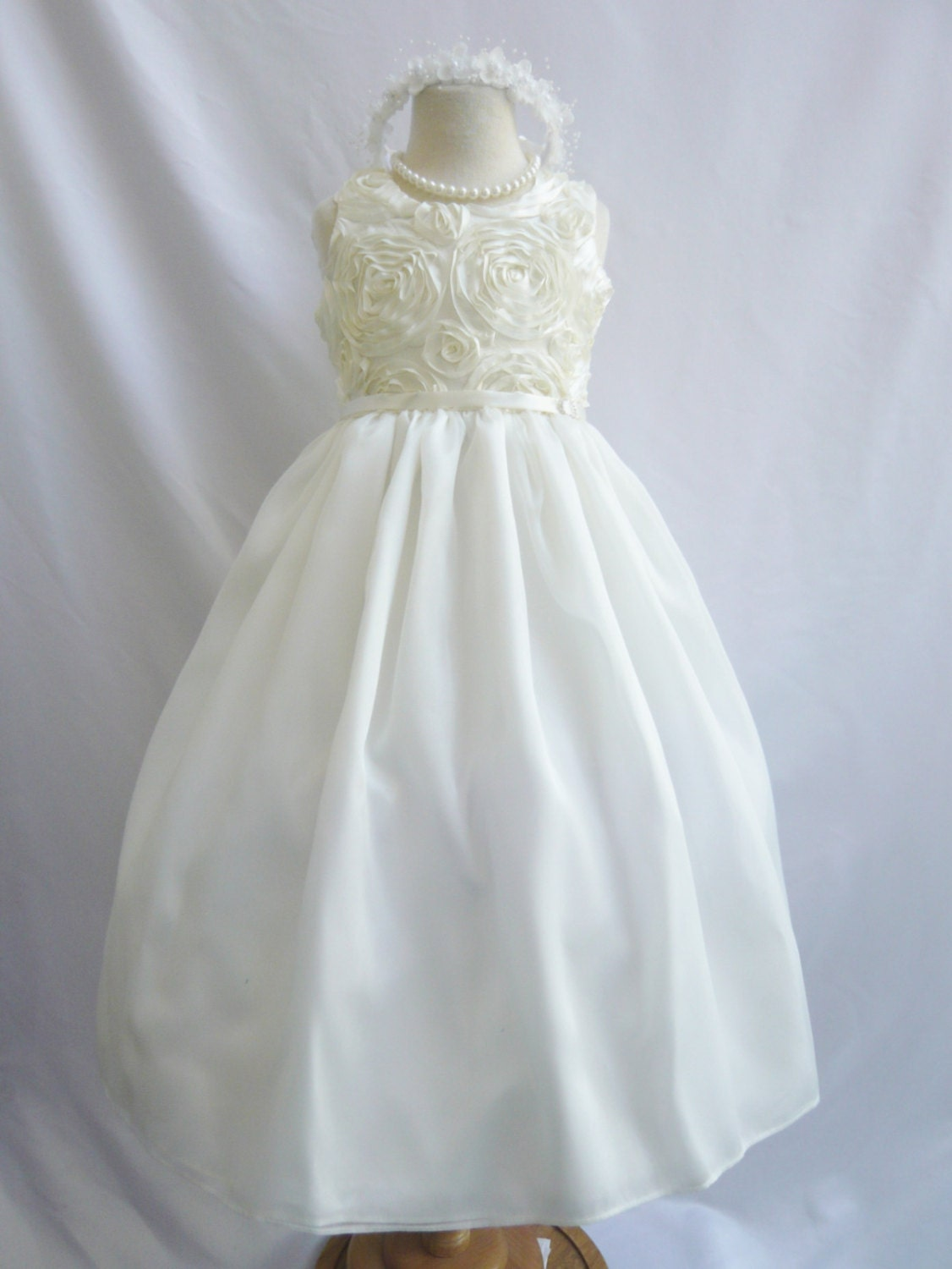 Flower Girl Dresses IVORY Rosette Swirl by NollaCollection