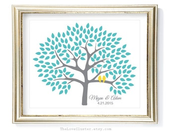 Wedding Tree Guestbook Print / 16x20 / 150 Guests / Signature Guest Book Alternative / Guest Book Poster / Personalized Wedding Print