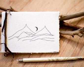 Notebook made from recycled handmade paper with Mountain and Moon design by Cliffwatcher