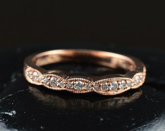 Caroline - Diamond Wedding Band in Rose Gold, Round Brilliant Cut, Wavy Wall Design with Beaded Milgrain, 1/2 Eternity Style, Free Shipping