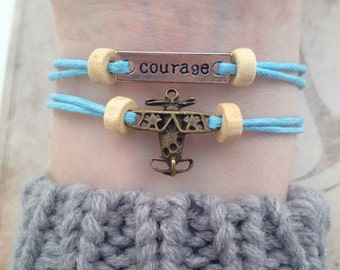 Plane bracelet travel bracelet courage Bracelet - friendship bracelet set stacking bracelet - cord bracelet boho bracelet surf bracelet