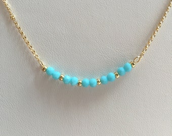 Turquoise and gold beaded necklace, turquoise chain necklace, gold chain and turquoise necklace, beaded necklace, gold chain necklace